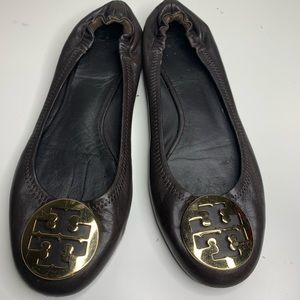 Tory Burch Reva Brown Leather Flats Shoes Size 9